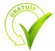 gratuit sur symbole validé vert
