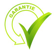 garantie sur symbole validé vert