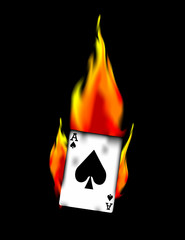 Ace of Spades on Fire! Vector / Clip Art