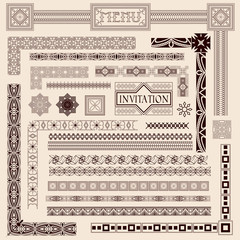 Decorative menu and invitation border elements