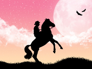 Cowboy taming is horse at moonlight