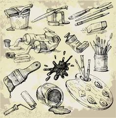 Set of Hand Drawn Artist's Stuff