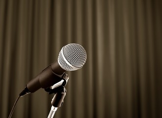 microphone behind curtain