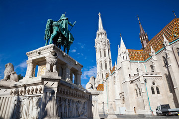 the equestrian statue of st. stephen and matthias church