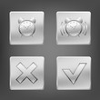 Set of metal icons with clock alarm