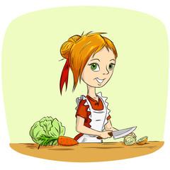 Cartoon housewife cooking vegetables