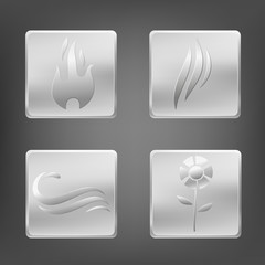 Set of nature elements symbols with metal icon