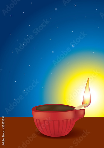 Diwali Diya in Sky Background - Vector Illustration