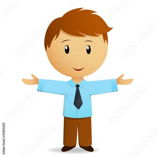 Happy cartoon businessman