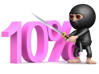 3d Ninja cuts ten percent