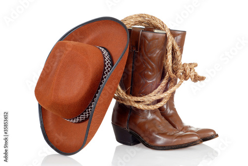 cowboy boots hat and lasso