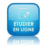 Bouton ETUDIER EN LIGNE (enseignement études par correspondance) poster