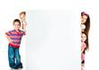 kids beside a white blank