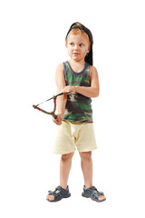 Little cute bully with a slingshot on a white background
