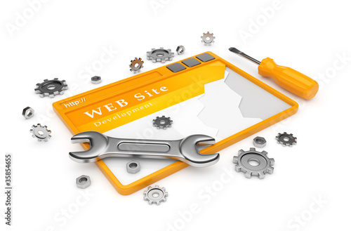 Website development. WWW with tools isolated on white background