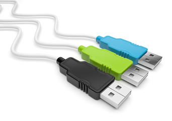 USB cable 3d. Isolated on white background