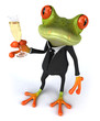 Grenouille et champagne