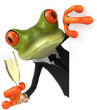 Grenouille et champagne