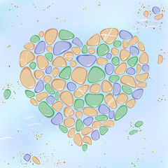 Colorful pebble heart background