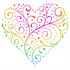 Colourful floral vector heart