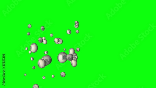 us dollars bubble with chroma key