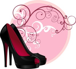 Fashion shoe floral background