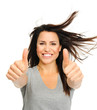 Excited brunette with thumbs up