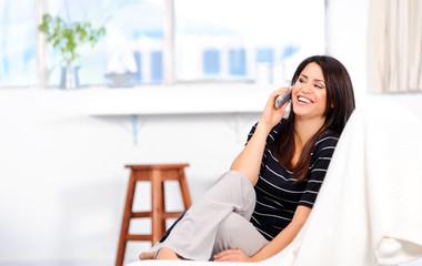 Happy woman on telephone