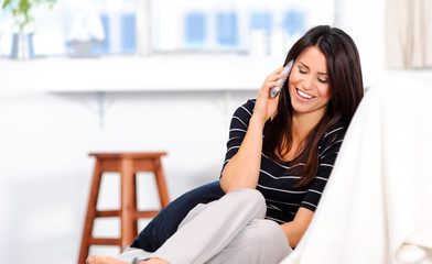 Happy woman on telephone