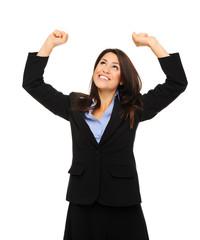 Business woman celebrates