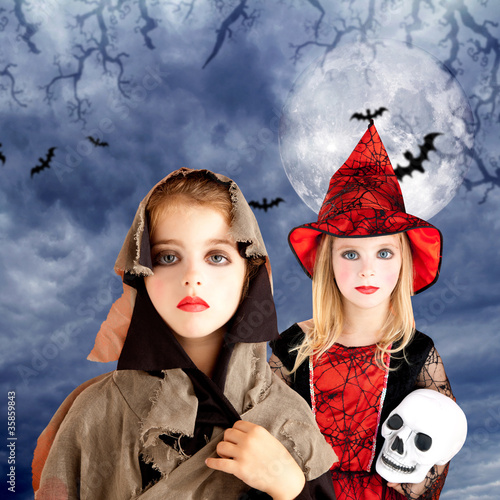 halloween kid girls with skull cloudy moon