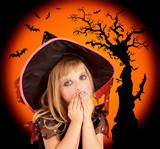 Halloween scared blond kid girl