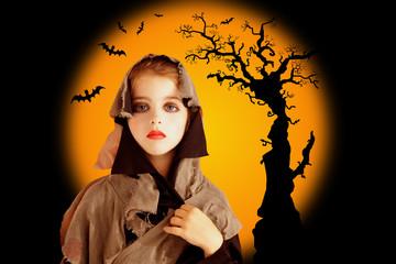 Halloween child girl with grunge dress