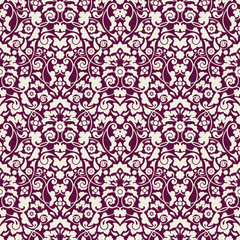 Seamless Damask Pattern Beige/Purple Wallpaper