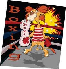 Lion the boxer on a ring. Cartoon