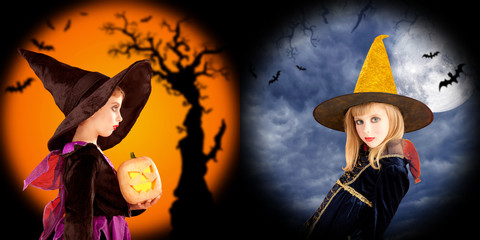 Halloween girls costumes in two backgrounds