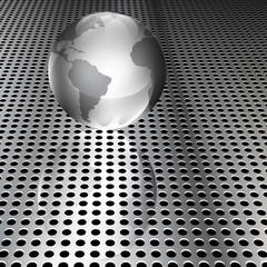 Metallic Globe on Chrome Grid