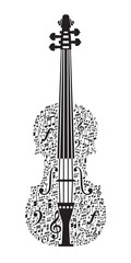 Abstract violin and musical symbols