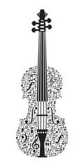 Abstract violin and musical symbols