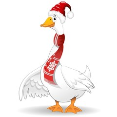 Babbo Natale Oca Papero-Cartoon Goose Duck Santa Claus-Vector