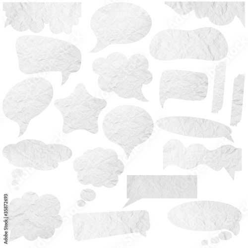 Collection of Paper speech bubbles. With Save path on paper