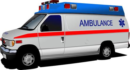 Modern ambulance van over white. Colored vector illustration