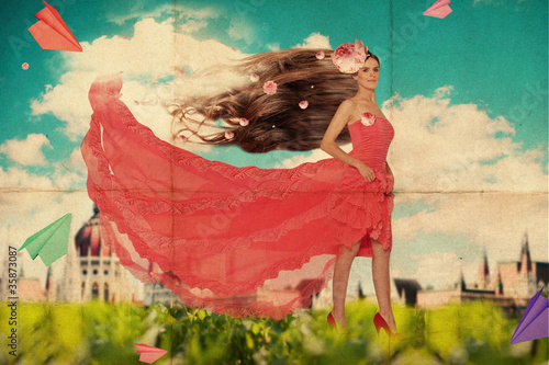 art collage with beatiful young woman in red dress - 35873087