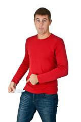 man shows an empty pocket