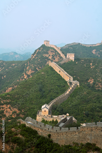 Plexiglas Chinese Muur Great Wall of China Jinshaling meandering into distance