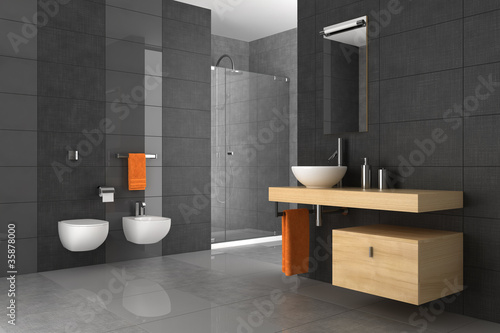 tiled bathroom with wood furniture