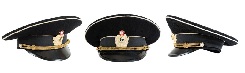 Russian navy service (peak) cap on white background