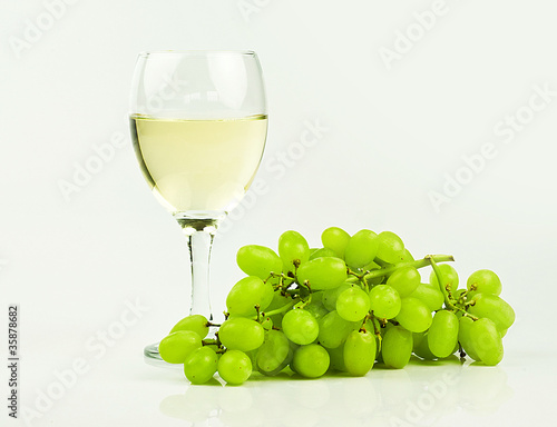 green grapes with wine