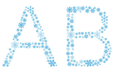 Beautiful frosty letters of snowflakes on a white background. ve