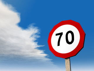 Verkehrszeichen Zulässige Höchstgeschwindigkeit 70